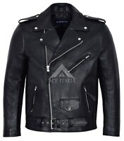 Mens Brando PERFECTO Jacket Black Biker Racer Classic Real Cowhide Jacket MBF