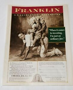 1991 Joe Montana San Francisco 49ers Franklin Distributors Securities Fund Ad