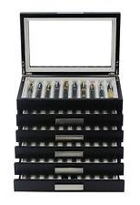 60 Piece Black Ebony Wood Six Level Pen Display Case with Glass Window