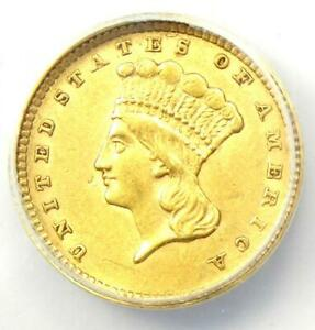 1857 Indian Gold Dollar G$1 - Certified ANACS AU50 - Rare Early Coin!