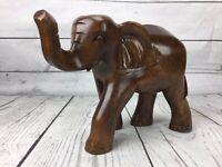 Wood Elephant Figurine Bahamas Hand Carved *no tusks* Solid Figure Statue Boho