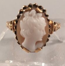 gorgeous victorian 14k Yellow Gold italian cameo Ring  Size 6 3/4