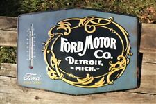 Ford Motor Co. Embossed Thermometer Tin Metal Sign -  1903 Heritage Logo