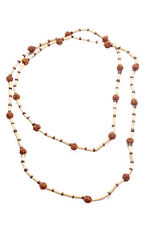 Minimal & eco chic- brown & light brown wooden beads long strand necklace(ZX273)