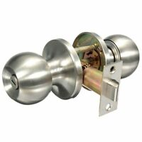 Door Knob Set Handle Lock Set Privacy Entrance Passage Stainless Steel Round