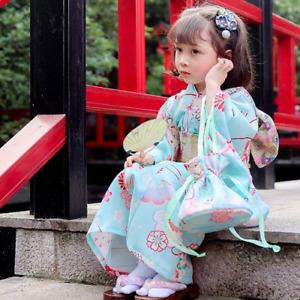 Children Kimono Yukata Japanese  Clothing Suit Girl Flower  Performance Costume