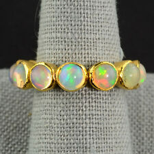 18k Solid Yellow Gold Ethiopian Opal Eternity Ring SIZE 7.25