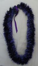Beautiful Hawaiian Purple Crocheted Necklace Lei String Adjustable Yarn Lei