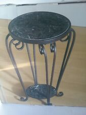 Round Pedestal Plant Stand Marble Top Side End Table Phone Lamp Metal Display