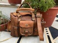 13 inch Vintage Leather Messenger Shoulder Sling Bag Cross Body Flap Over Purse