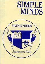 Simple Minds Fanzine Lyric Sheet Sparkle In The Rain 1980's