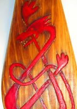 Celtic Viking Knot Hand Carved Painted Cedar Wood Paddle Oar Red Dragon Trinity