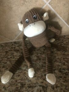 ZIPPY PAWS Brown Spencer The Crinkle Monkey Squeaky Stuffed Toy For Dogs