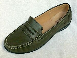 HOTTER - DARCY - DARK GREEN LEATHER LOAFERS - size 5.5 - UNWORN - FAST REC POST