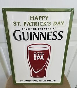 """Guinness Nitro IPA Happy ST Patricks Day 14"""" X 20"""" Embossed Metal Sign New"""