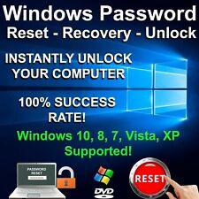 Windows Password Reset Recovery Windows 10, 8, 7, Vista, XP 32/64bit Support DVD