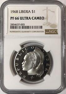 1968 Republic of Liberia $1 One Dollar KM #18a.2 PF66 Ultra Cameo NGC TOP POP