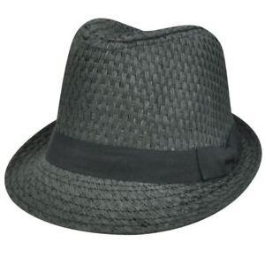 STRAW GRAY GREY PAPER HAT CAP FEDORA TRILBY CHARCOAL SMALL MEDIUM