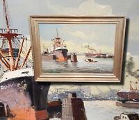 Tolle Hafenszene mit Dampfschiffen. Original Ölgemälde, signiert. Seestück Hafen