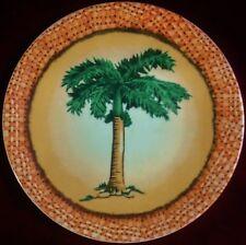 "Decorative 8.25"" Round Plate - One Palm Tree, Peach Bgd, Peach ""Woven"" Border"