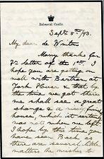 KING GEORGE 5TH 1893 AUTOGRAPH LETTER BALMORAL CASTLE