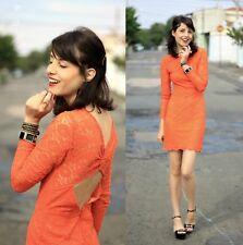 Topshop Premium Orange Lace Dress Size 8 Races Wedding Bodycon Mini Night Out