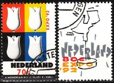 Netherlands 1992 Mi. 1433-34. World Expo, Sevilla'92. Tulips Map, Used / Cto
