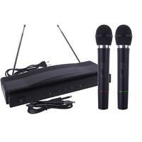 Wireless Microphone System Dual Handheld + 2 x Mic Cordless Receiver Stylish