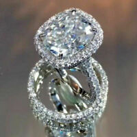 14k White Gold 5ct Cushion& Round Diamond Halo Engagement Wedding Ring Set Solid