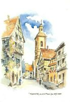 RIQUEWIHR - Rue de la 1ère Armée - Aquarelle Willy Kuhn (Alsace)