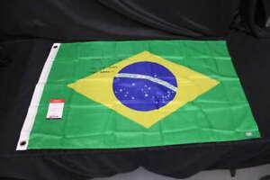 ROYCE GRACIE SIGNED BRAZIL FLAG UFC HOF 2003 TEAM BRAZIL INSC COA JB1292