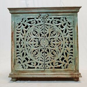 Made to Order Dynasty French Hand carved Doors Buffet Sideboard Blue wash rustic