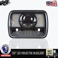 "1x LED Projector Headlight 7x6"" Sealed Beam Headlight Black DOT Approved"