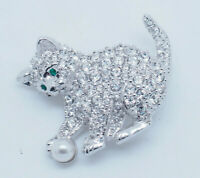 RARE Signed Swarovski CZ Crystal Pave Kitty w/Pearl Ball Brooch Pin