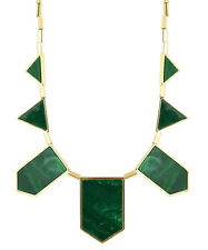 HOUSE OF HARLOW 1960 Genuine Classic Station Necklace Green/Gold Brand New w Tag
