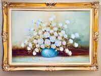Magnificent Original Oil on Canvas Flower Still Life By Blaine Framed & Signed