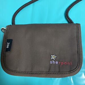 SHERPANI ZOE Brown Orange Zip-Around Shoulder Wallet Purse EXCELLENT