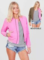 WOMENS REVERSIBLE BOMBER JACKET OLIVE PINK NEW 8 10 12 14 16