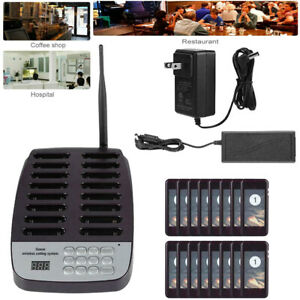 16 Restaurant Coaster Pager Guest keypad Wireless Calling Paging Queuing System
