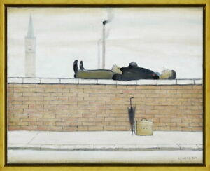 Framed L.S. Lowry Man Lying on a Wal Giclee Canvas Print Paintings Poster