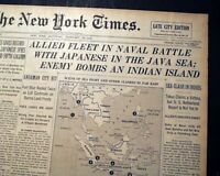 BATTLE OF THE JAVA SEA Japanese Imperial Navy Victory1942 World War II Newspaper