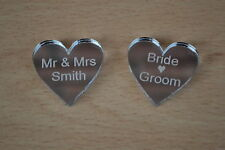 New Mirror acrylic Hearts 3cm x 50  Engraved personal message for wedding table