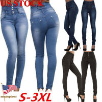 Womens Pencil Pants High Waist Skinny Jeggings Denim Jeans Casual Slim Trousers