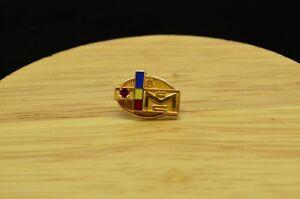10K YELLOW GOLD CMC COLORFUL ENAMEL & RED RUBY 5 YEAR AWARD LAPEL PIN