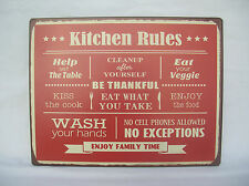 RED METAL KITCHEN RULES  WALL SIGN PLAQUE