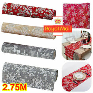 Christmas Table Runner 2.75m Embroidered Xmas Decorative Cloth Festive Cover UK