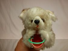 VINTAGE TIN TOY GERMAN HAIRY WIND-UP POLAR  BEAR -HONEY H23.0cm - EXTREMELY RARE