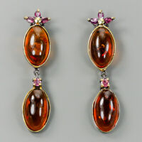 Vintage SET Natural Amber 925 Sterling Silver Earrings /E36983
