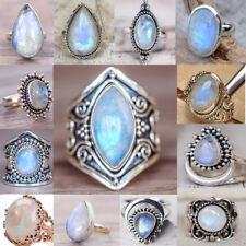 Wedding 925 Silver Natural Moonstone Gemstone Rings Band Vinatge Bridal Mum GIFT