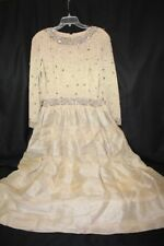 "Vintage VICTORIA ROYAL Beige 100% Silk Beaded & Sequin""Rocks""Gown Womens 12-B113"